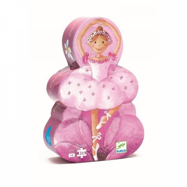 Silhouette Puzzle Ballerina mit Blumen - 36 Teile - 4y