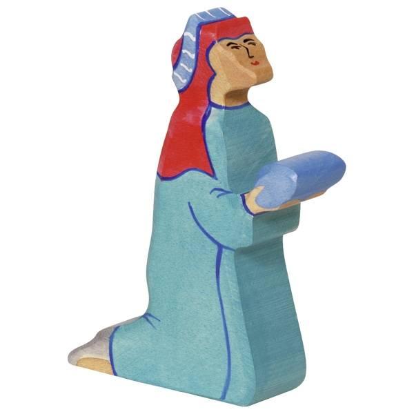 Balthasar blau/rot Serie B Holzfigur/Krippenfigur