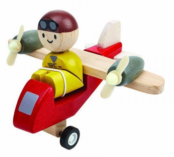 Propellerflugzeug mit Pilot