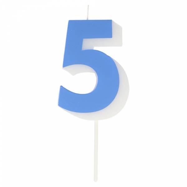 Geburtstagskerze Zahl 5 - blau