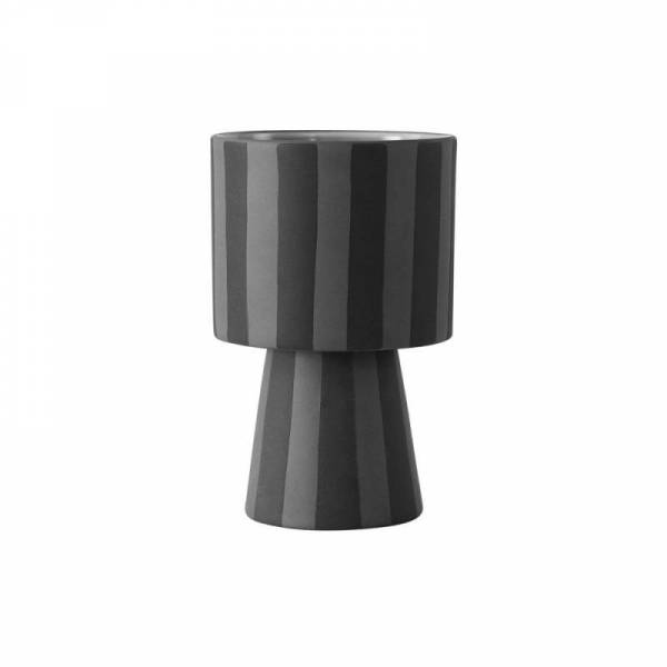 Toppu Vase Übertopf, Ø 10 x H 15 cm, schwarz grau