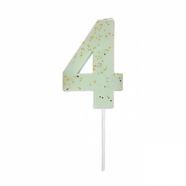Geburtstagskerze Zahl 4 - mint