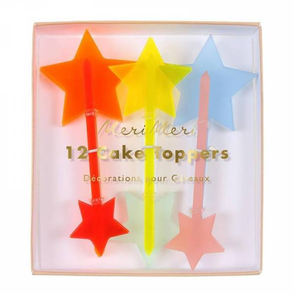 Neon Acrylic Star Cake Toppers