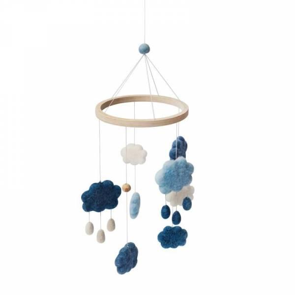 Filz-Babymobile, Wolken - denim blue