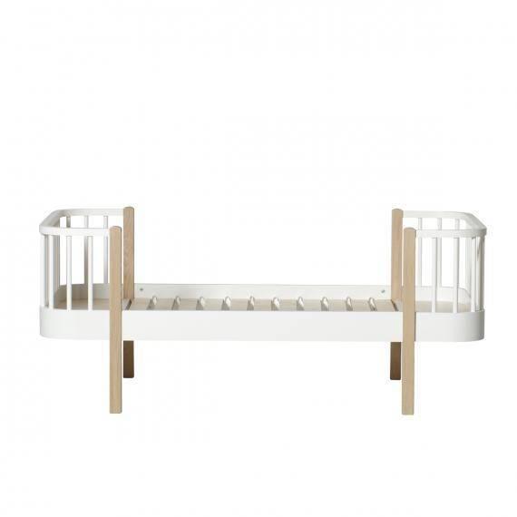 Wood Junior- und Kinderbett, 90x160 cm, weiß/Eiche