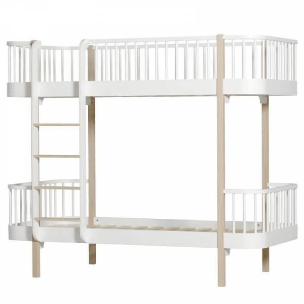 Wood Etagenbett, 90x200 cm, weiß/Eiche - Leiter/Vorne