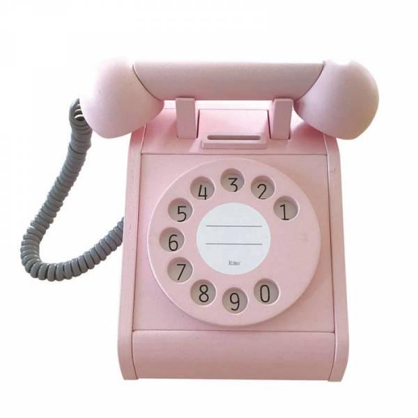 Telefon aus Holz mit Wählscheibe - pink