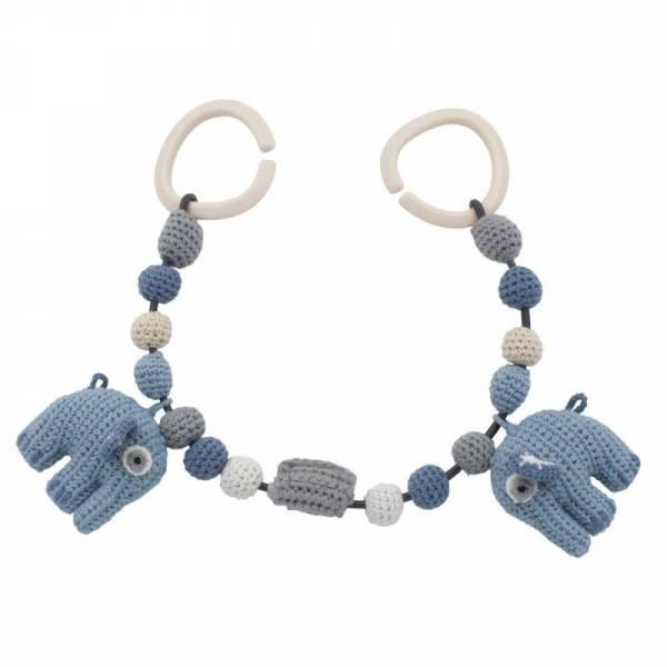 Häkel-Kinderwagenkette Fanto der Elefant powder blue