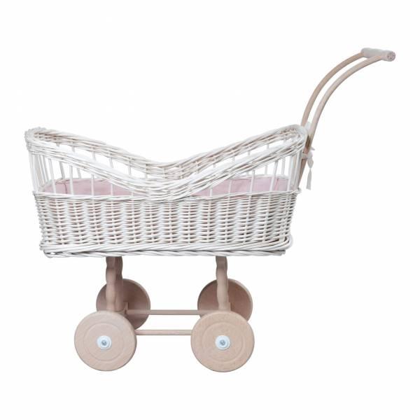 Rattan-Puppenwagen weiß