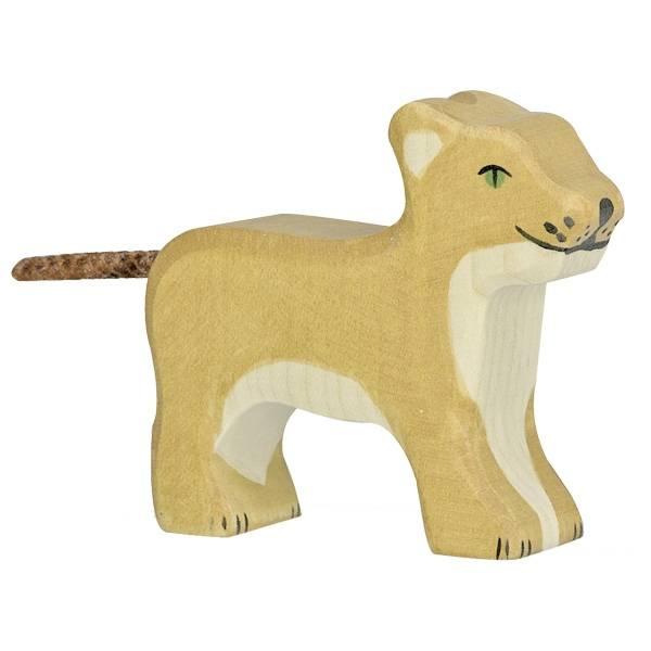 Löwenbaby Holzfigur
