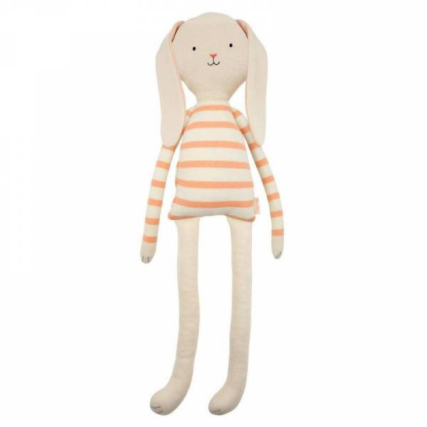 Strick-Hase - Large Knit Bunny Rosa/Weiß-gestreift