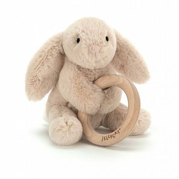 Baby-Stofftier Hase mit Holzring
