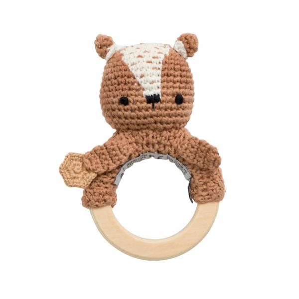 Häkel-Rassel Milo der Bär mit Holzring