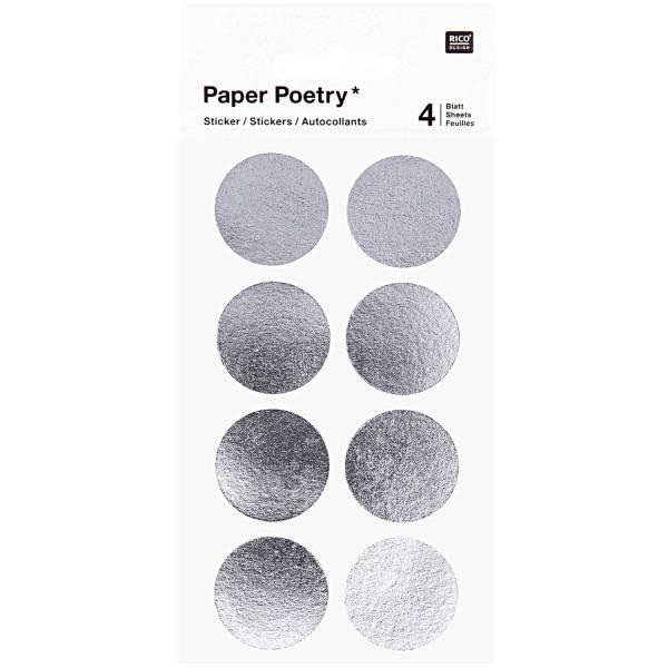 Sticker Punkte 25mm Silber 4 Blatt
