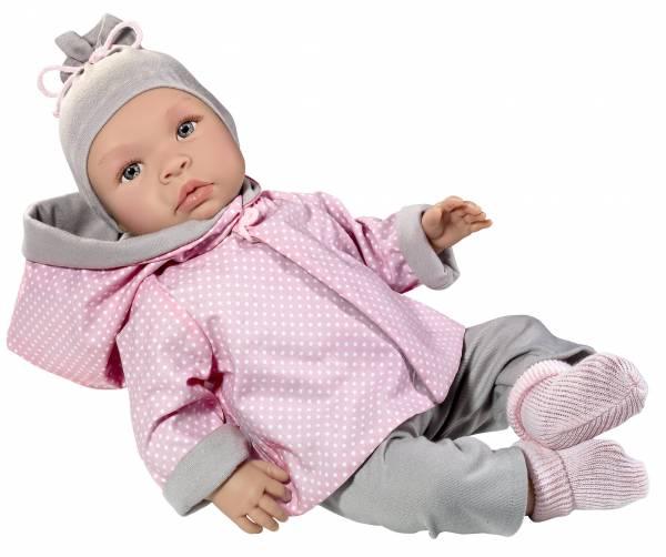 Babypuppe Leo Grau/Rosa Jersey Kombi