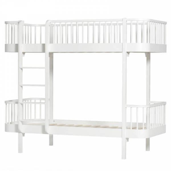 Wood Etagenbett, 90x200 cm, weiß - Leiter/Vorne
