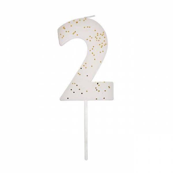 Geburtstagskerze Zahl 2 - weiß