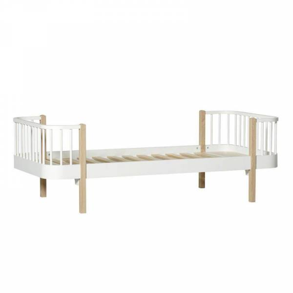 Wood Einzelbett, 90x200 cm, weiß/Eiche