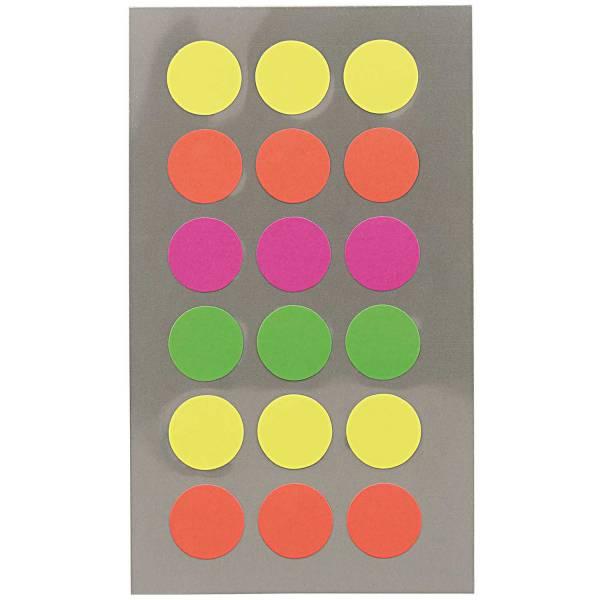 Sticker Neon Punkte 15mm 4 Blatt 7x15,5cm