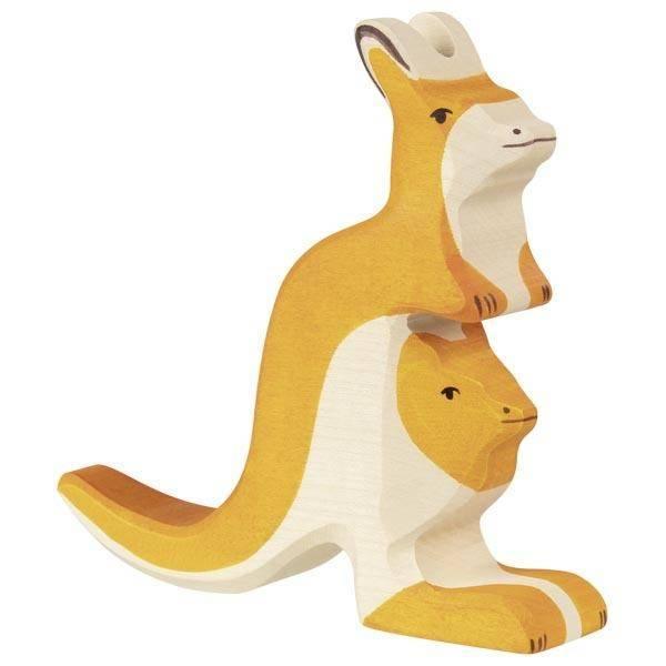 Känguruh mit Jungem Holzfigur