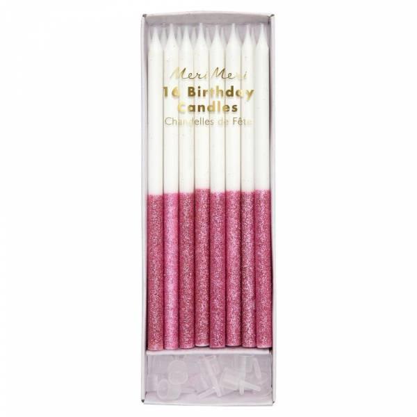 Dusky Pink Glitter Dipped Kerzen