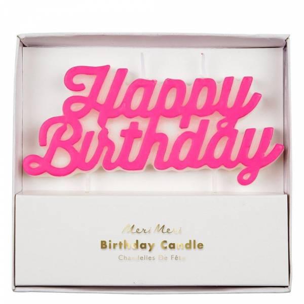 Happy Birthday Kerze pink