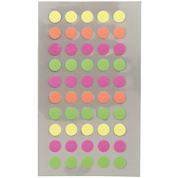 Sticker Neon Punkte 8mm 4 Blatt 7x15,5cm