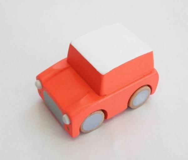Kuruma Holzauto mit Rückzugmotor - Fluo Orange - ab 3 Jahren