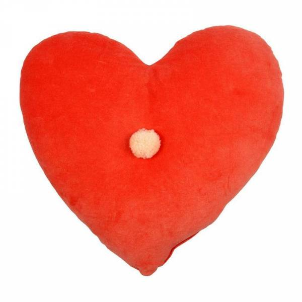 Samtkissen Herz - Velvet Heart Cushion - Coral Pink