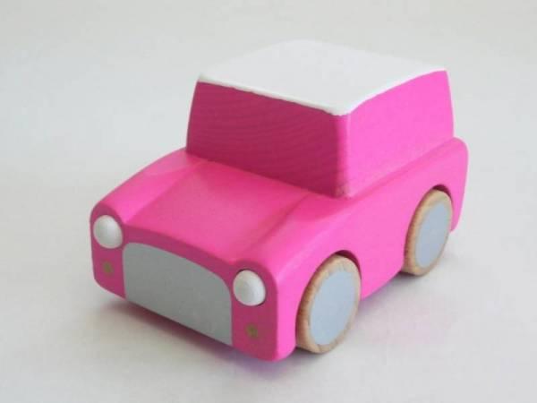 Kuruma - Holzauto mit Rückzugmotor - Fluo Pink - ab 3 Jahren