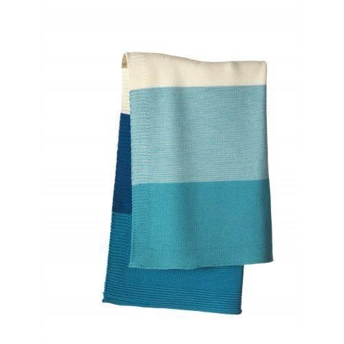 Strick-Babydecke Blockstreifen lagoon/blau 100cm x 80cm