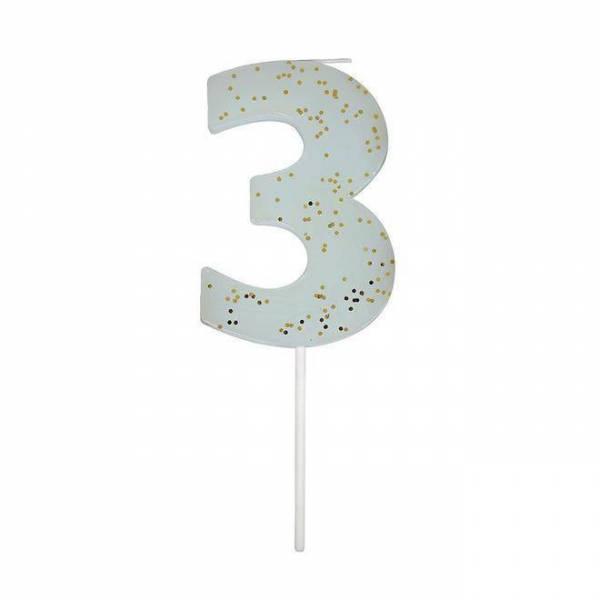 Geburtstagskerze Zahl 3 - blau