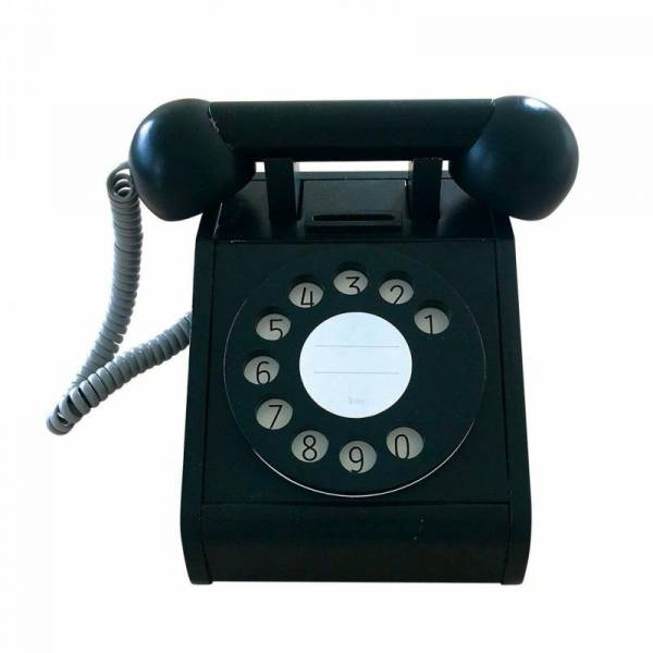 Telefon aus Holz mit Wählscheibe - schwarz