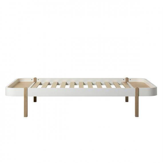 Wood Bett Lounger weiß/Eiche - 120x200cm