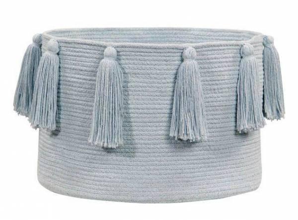 Korb - Basket Tassels - blau