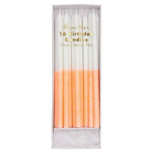 Coral Glitter Dipped Kerzen - 16 Stück
