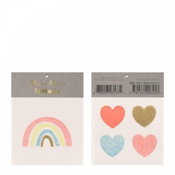 Rainbow & Hearts Glitter Klebetattoos