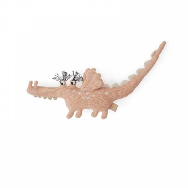 Strickrassel - Darling Rattle - Baby Yoshi Crocodile - coral