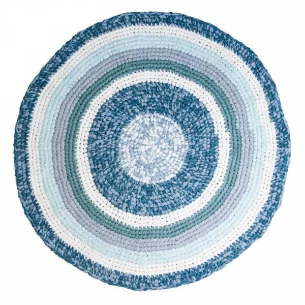 Häkel-Teppich, tannenblau melange