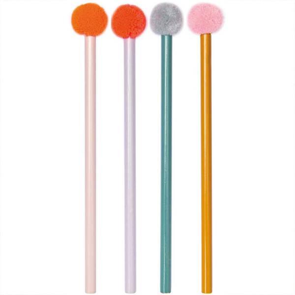 Bleistift mit PomPom farblich sortiert